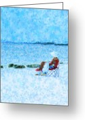 Beach Towel Mixed Media Greeting Cards - Beach Read Greeting Card by Florene Welebny