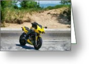 Biker Greeting Cards - Beach Road Buell Greeting Card by Michelle Calkins