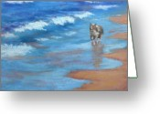 Ocean Landscape Pastels Greeting Cards - Beach Run Greeting Card by Helen Hammerman