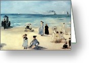 Beach Scene Greeting Cards - Beach Scene Greeting Card by Edouard Manet