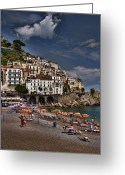 Interface Images Greeting Cards - Beach scene in Amalfi on the Amalfi Coast in Italy Greeting Card by David Smith