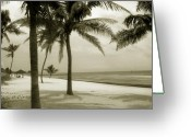 Smathers Beach Greeting Cards - Beach scene in Key West Greeting Card by Susanne Van Hulst
