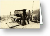 Long Beach Island Photos Greeting Cards - Beach Seat yellow tone Greeting Card by John Rizzuto