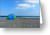 Wrightsville Greeting Cards - Beach Tent Greeting Card by Lance Vaughn