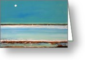 Moon Greeting Cards - Beach Textures Greeting Card by Toni Grote