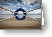 Strength Greeting Cards - Beach Through Lifeguard Tied With Ropes Greeting Card by Carlos Ramos