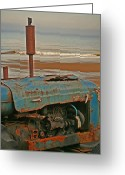 Mundesley Greeting Cards - Beach tractor Greeting Card by Camera Rustica Bill Kerr