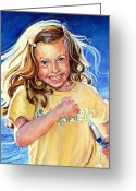 Playing On Beach Greeting Cards - Beach Treasure Greeting Card by Hanne Lore Koehler