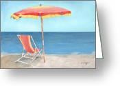 Beach Umbrella Painting Greeting Cards - Beach Umbrella Of Stripes Greeting Card by Arline Wagner