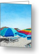 Pencil Drawing Drawings Greeting Cards - Beach Umbrellas Greeting Card by Glenda Zuckerman