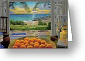 Oranges Greeting Cards - Beach View Greeting Card by Carey Chen