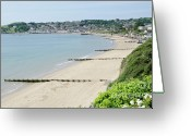 Uk Greeting Cards - BEACH VIEW Swanage Bay sandy beach Jurassic coast Dorset England UK Greeting Card by Andy Smy