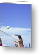 Male Athletes Greeting Cards - Beach Volleyball Greeting Card by Cristina Pedrazzini