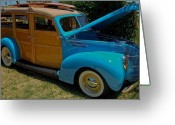 Gold Ford Greeting Cards - Beach Wagon Greeting Card by DigiArt Diaries by Vicky Browning
