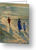 On The Beach Greeting Cards - Beach Walk Greeting Card by Timothy Easton