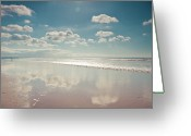 Devon Greeting Cards - Beach With Cloud Reflections And Blue Sky Greeting Card by Www.zoepower.co.uk