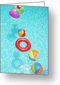 Water Swimming Pool Greeting Cards - Beachballs Greeting Card by Alex Bramwell