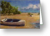 Ocean Landscape Pastels Greeting Cards - Beached Greeting Card by David Patterson