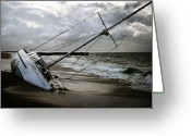 Ship-wreck Greeting Cards - Beached Greeting Card by Shane Rees