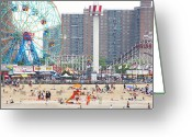 Amusement Park Greeting Cards - Beachgoers At Coney Island Greeting Card by Ryan McVay