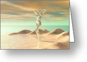 Woman Figure Greeting Cards - Beachside Beauty Greeting Card by Sandra Bauser Digital Art