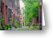 Suffolk County Greeting Cards - Beacon Hill Greeting Card by Susan Cole Kelly