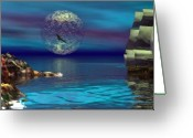 Dolphin Digital Art Greeting Cards - Beacon of hope Greeting Card by Claude McCoy