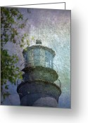 Trees Light Windows Greeting Cards - Beacon of Hope Greeting Card by Judy Hall-Folde