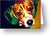 Dawgart Greeting Cards - Beagle - Bailey Greeting Card by Alicia VanNoy Call