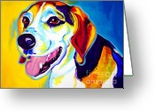 Hound Greeting Cards - Beagle - Lou Greeting Card by Alicia VanNoy Call