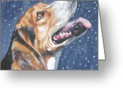 Beagle Greeting Cards - Beagle in snow Greeting Card by L AShepard