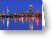 Photo Greeting Cards - Beantown City Lights Greeting Card by Juergen Roth