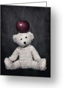 Black Fur Greeting Cards - Bear And Apple Greeting Card by Joana Kruse