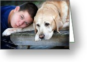 Friend Greeting Cards - Bear and His Boy Greeting Card by Terry Kirkland Cook