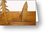 Trees Sculpture Greeting Cards - Bear Between Two Trees Greeting Card by Robert Margetts