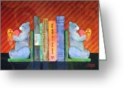 Whimsy Mixed Media Greeting Cards - Bear Bookends Greeting Card by Arline Wagner