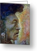 Egg Tempera Painting Greeting Cards - Bear Bull Shaman Greeting Card by Otto Rapp