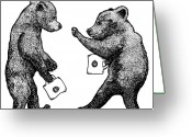 Play Drawings Greeting Cards - Bear Cubs With Mugs Greeting Card by Karl Addison