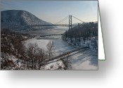 Suspension Bridge Greeting Cards - Bear Mountain Bridge Greeting Card by Photosbymo