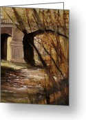 Petoskey Painting Greeting Cards - Bear River Bridge Petoskey Greeting Card by Sandra Strohschein