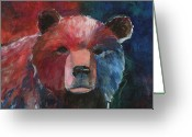 Bears Painting Greeting Cards - Bear Greeting Card by Sioux Storm