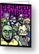 Horror Greeting Cards - Bearded Zombies Group Photo Greeting Card by Christopher Capozzi