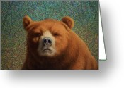 Colorful Tapestries Textiles Greeting Cards - Bearish Greeting Card by James W Johnson