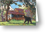 Black Bear Cubs Greeting Cards - Bears at Barton Cabin Greeting Card by Nadi Spencer