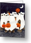 Trick Or Treat Greeting Cards - Bears Freebie Night Greeting Card by Catherine G McElroy