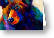 Bears Greeting Cards - Beary Nice - Black Bear Greeting Card by Marion Rose