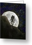 Moon Greeting Cards - Beast at Full Moon Greeting Card by Kevin Middleton