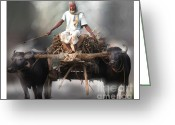 Buffalo Mixed Media Greeting Cards - Beasts Of Burden Greeting Card by Bob Salo