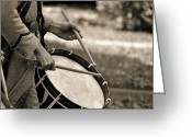 Solider Greeting Cards - Beat The Drum Greeting Card by Emily Stauring