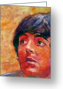 Beatles Painting Greeting Cards - Beatle Paul Greeting Card by David Lloyd Glover
